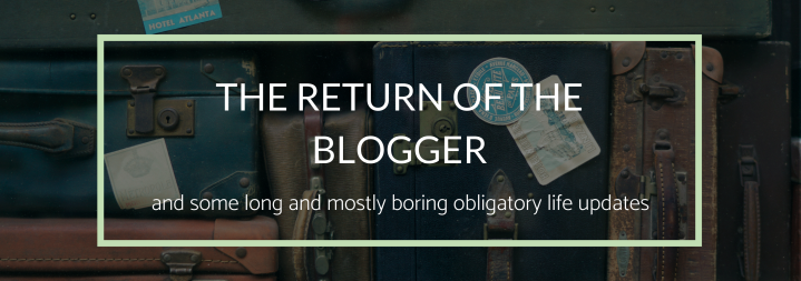 The Return of the Blogger (and some long and mostly boring obligatory life updates)